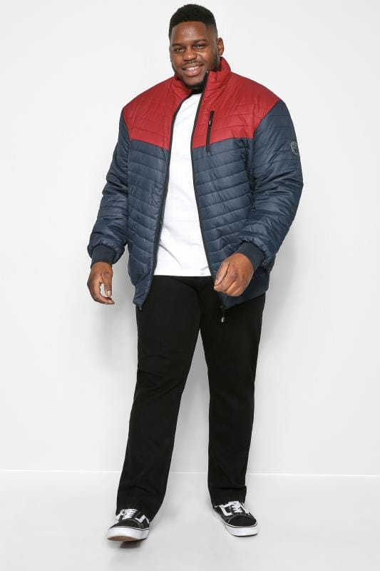 KAM Navy Contrast Padded Puffer Jacket