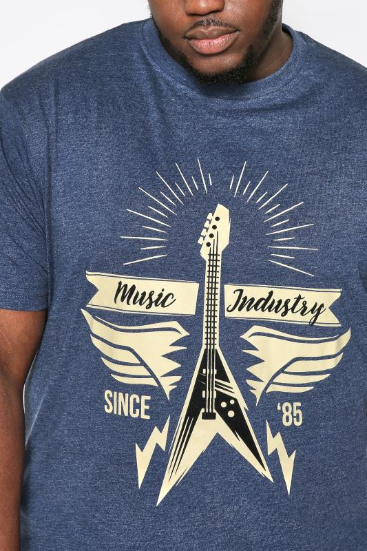 KAM Navy Marl Guitar Graphic Print T-Shirt