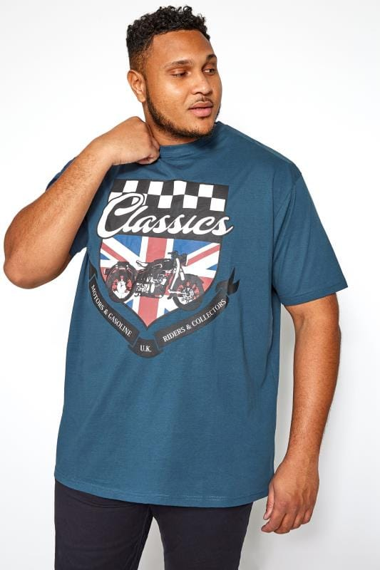 Plus Size T-Shirts KAM Navy Motorcycle Graphic Printed T-Shirt