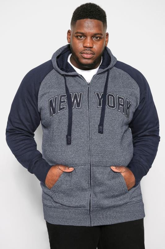 Plus Size Hoodies KAM Navy NYC Zip Through Hoodie