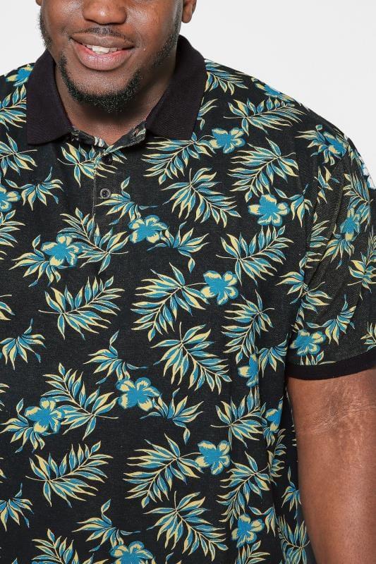 KAM Navy Tropical Print Polo Shirt