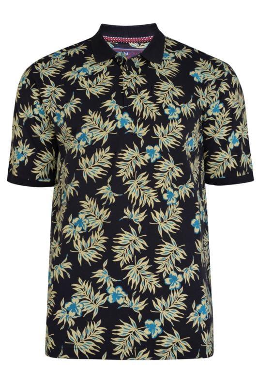 Plus Size Polo Shirts KAM Navy Tropical Print Polo Shirt
