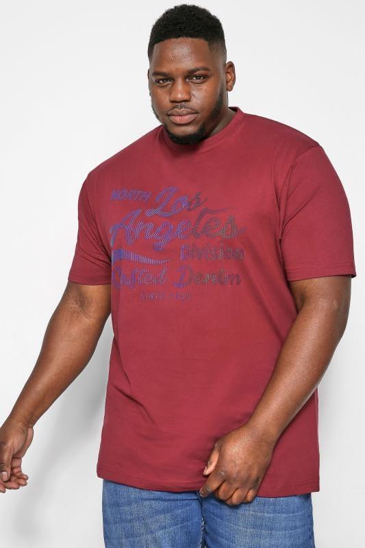 T-Shirts KAM Red 'Los Angeles' Slogan T-Shirt 202602