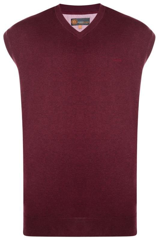 Plus Size Bracelets KAM Wine Red Sleeveless Knitted Jumper