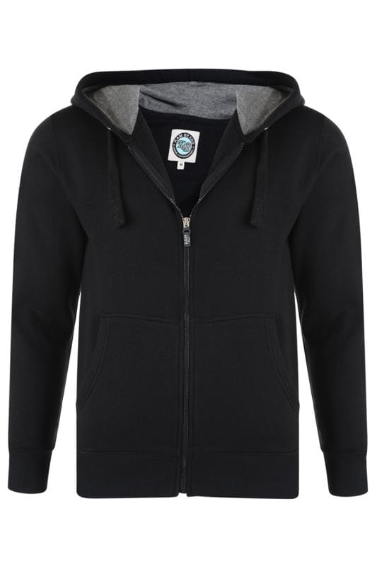 Men's Hoodies KAM Black Zip Through Hoodie