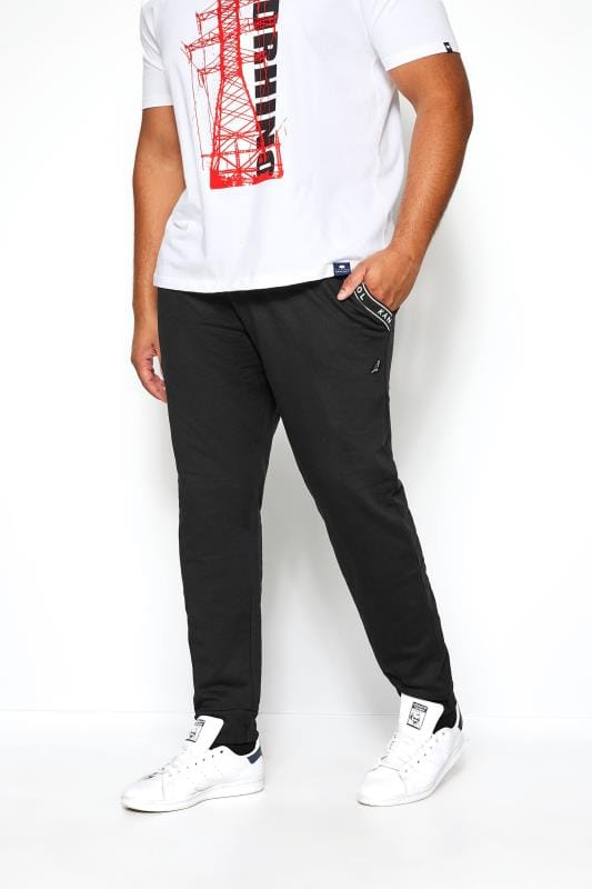Plus Size Joggers KANGOL Black Logo Taped Joggers