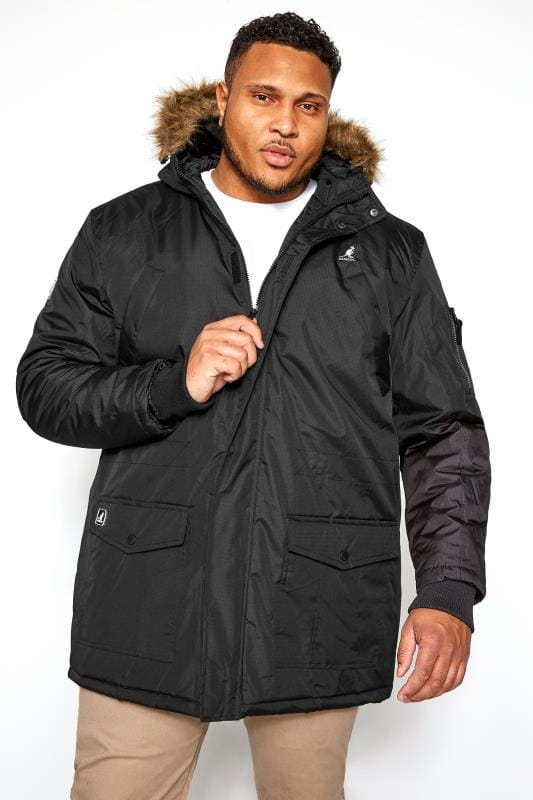 Plus Size Coats KANGOL Black Parka Coat