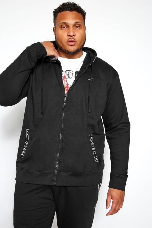 Plus-Größen Hoodies KANGOL Black Taped Hoodie