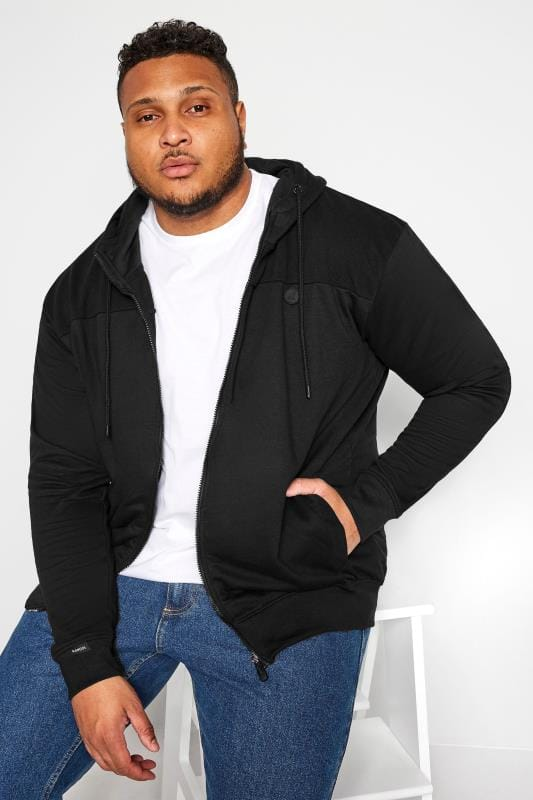 Plus Size Hoodies KANGOL Black Zip Through Hoodie