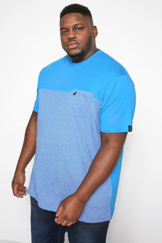 Plus Size T-Shirts KANGOL Blue Marl Colour Block T-Shirt