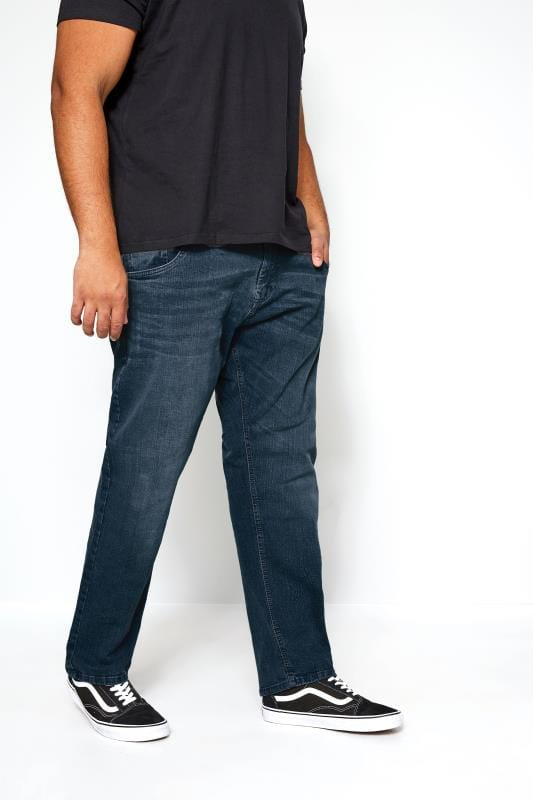 Plus-Größen Slim Tapered KANGOL Dark Blue Slim Fit Denim Jeans