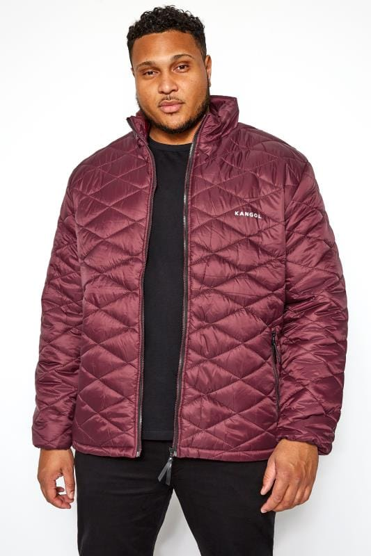 Plus Size Jackets KANGOL Dark Burgundy Quilted Padded Jacket