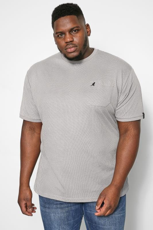 Plus Size T-Shirts KANGOL Grey Birdseye T-Shirt