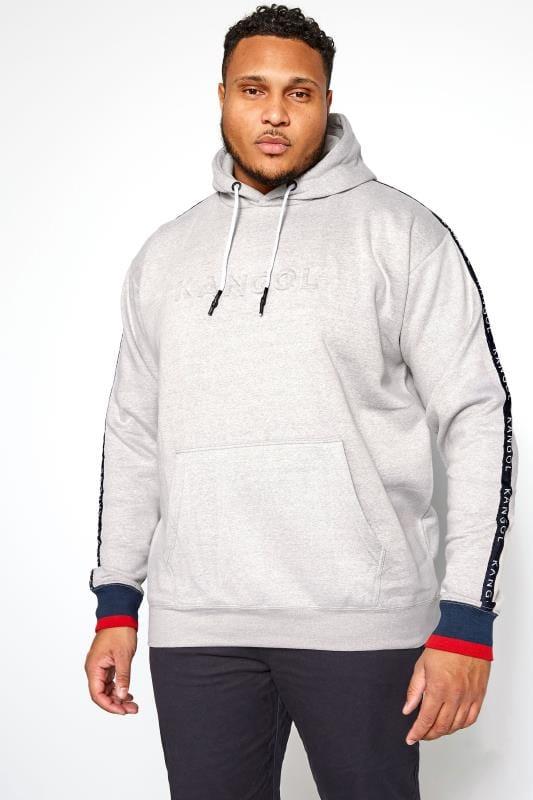 Большие размеры | Свитшоты и спортивные кофты KANGOL Grey Embossed Logo Hoodie