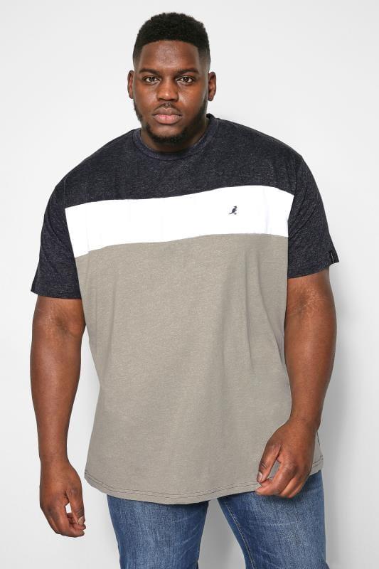 T-Shirts dla puszystych KANGOL Grey Marl Colour Block T-Shirt