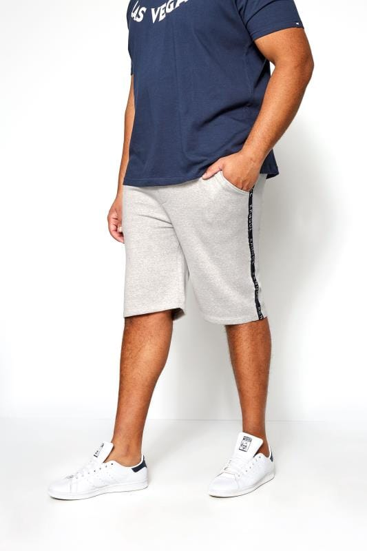 Plus Size Jogger Shorts KANGOL Grey Marl Taped Jogger Shorts