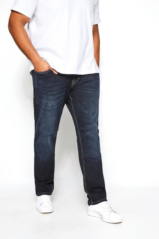 Большие размеры | Straight KANGOL Navy Darkwash Regular Fit Jeans