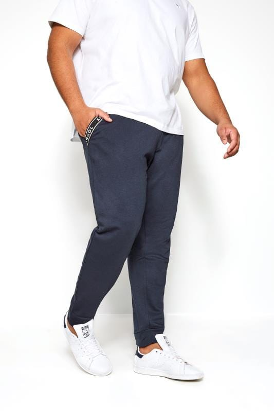 Plus Size Joggers KANGOL Navy Logo Taped Joggers
