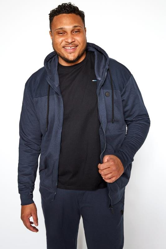 Plus Size Hoodies KANGOL Navy Marl Zip Through Hoodie