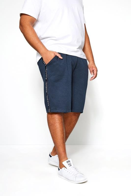 Plus Size Jogger Shorts KANGOL Navy Taped Jogger Shorts