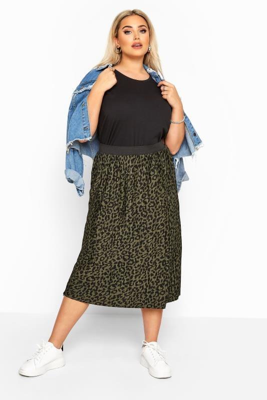 Plus Size Midi Skirts Khaki Leopard Print Plisse Midi Skirt