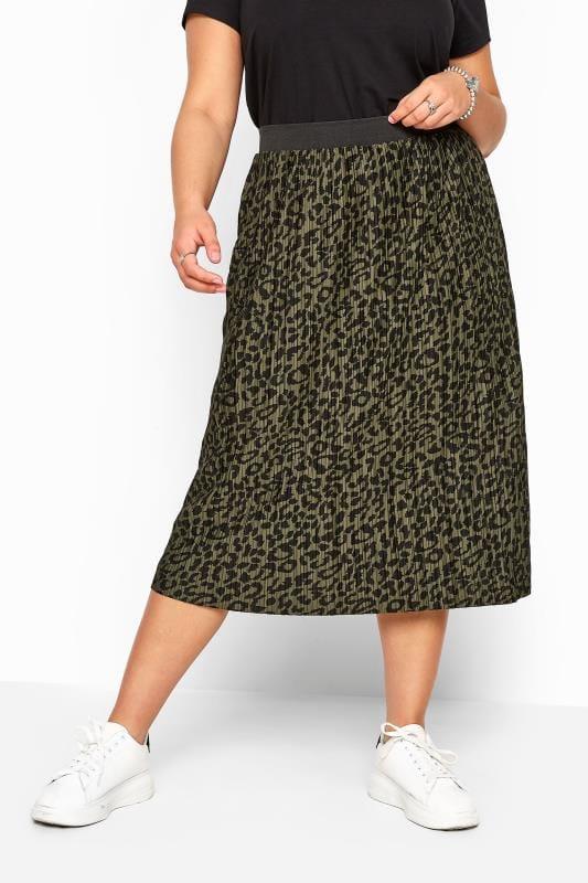 Khaki Leopard Print Plisse Midi Skirt