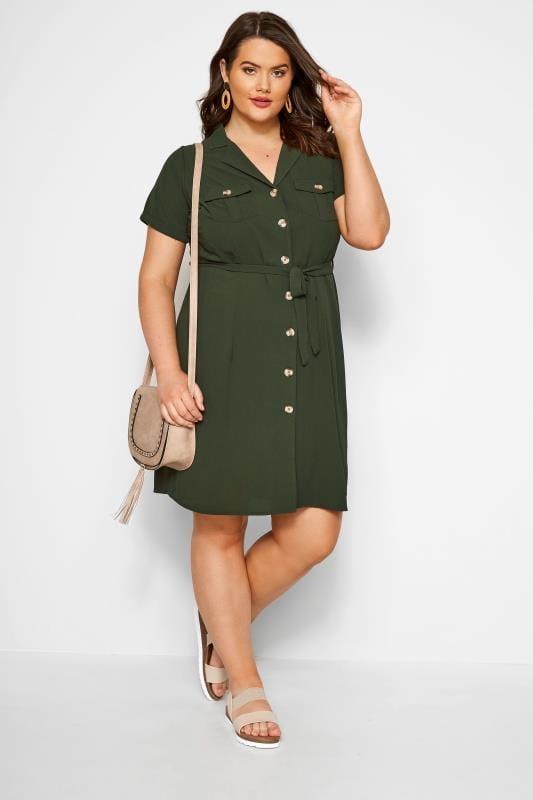 Khaki Utility Shirt Dress
