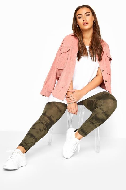 Plus Size Fashion Leggings Khaki Tie Dye Leggings