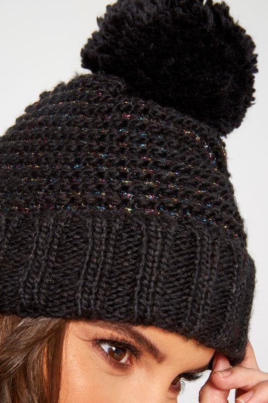 Plus Size Hats Black Metallic Pom Pom Hat