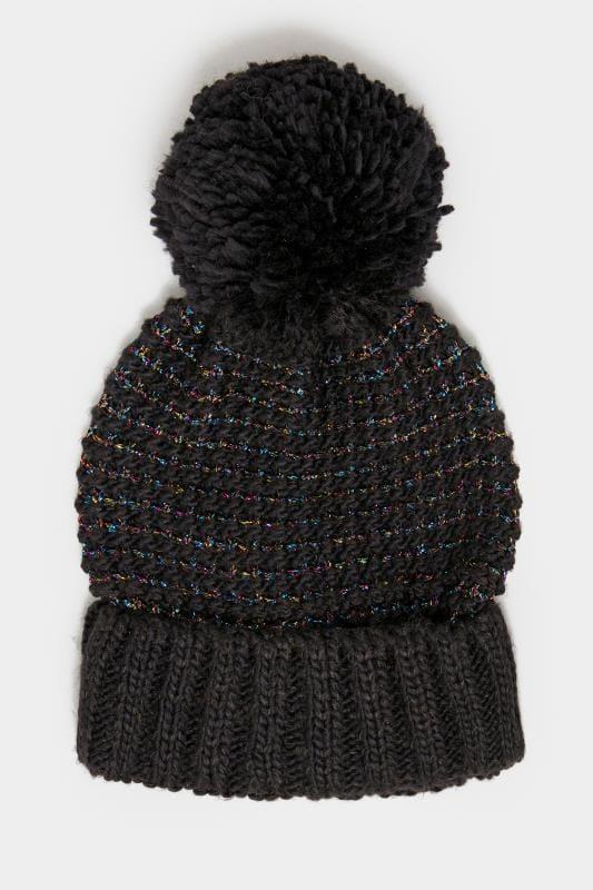 Black Metallic Pom Pom Hat