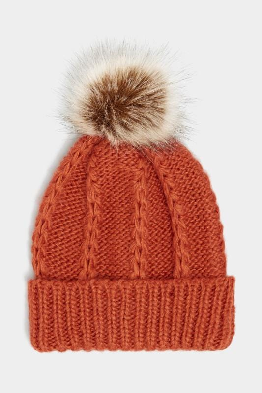 Orange Knitted Bobble Hat