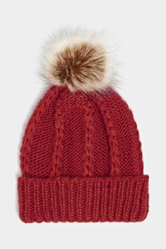 Dark Wine Knitted Bobble Hat