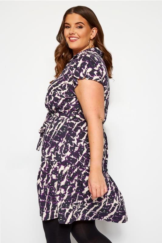 KOKO Purple Abstract Print Smock Shirt Dress