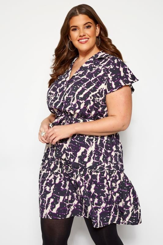 Robes casual Grande Taille KOKO - Robe Violette Coupe Droite Imprimé Abstrait