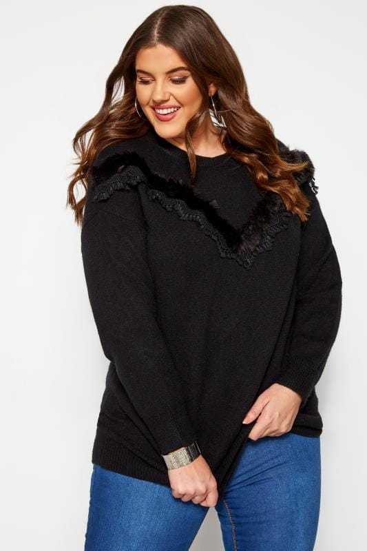 Plus Size Sweaters KOKO Black Faux Fur Chevron Jumper