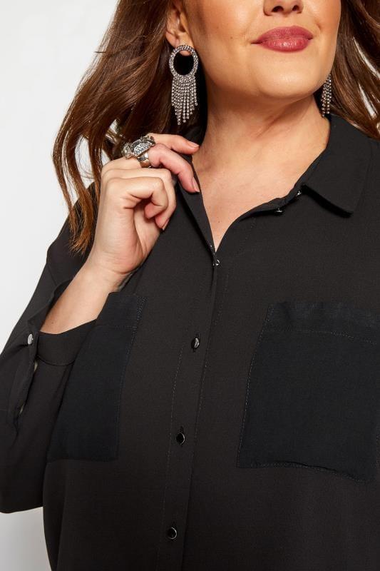 KOKO Black Longline Chiffon Shirt