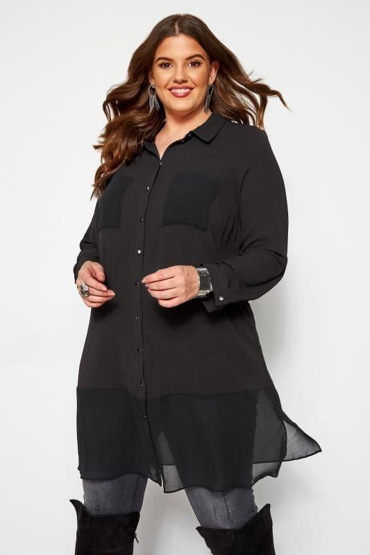 Plus Size Shirts KOKO Black Longline Chiffon Shirt