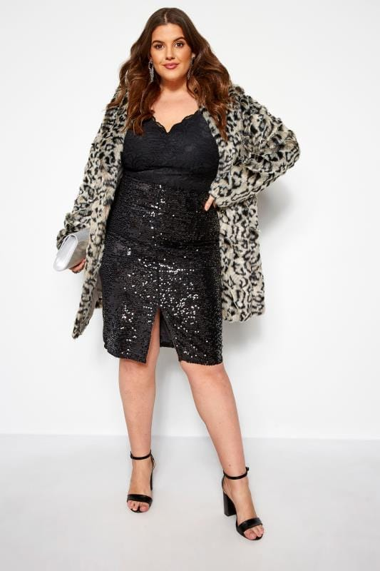 Plus Size Pencil Skirts KOKO Black Sequin Pencil Skirt