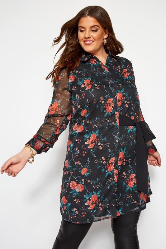 Plus Size Chiffon Dresses KOKO Black Tie Front Floral Shirt Dress