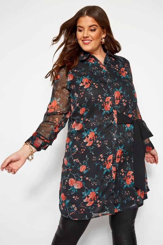 Plus Size Chiffon Dresses KOKO Black Tie Front Floral Shirt Dress