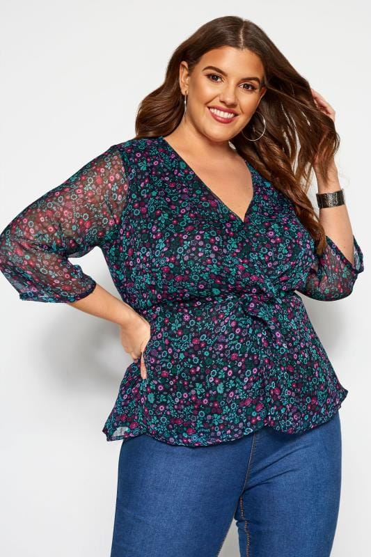 Plus Size Blouses & Shirts KOKO Blue & Purple Ditsy Floral Peplum Blouse