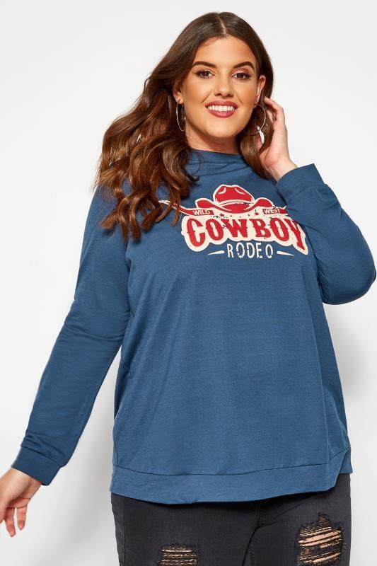 Plus Size Sweatshirts & Hoodies KOKO Blue Cowboy Slogan Sweatshirt