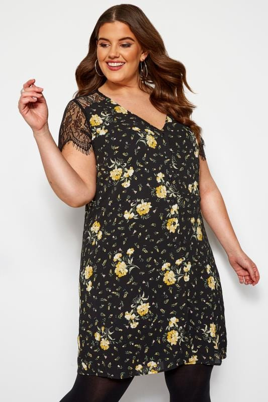 Plus Size Floral Dresses KOKO Black Floral Lace Sleeve Shift Dress