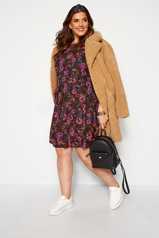 KOKO Black Floral Tiered Smock Dress