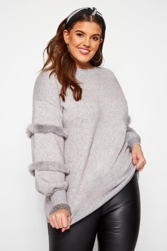 Plus Size Jumpers KOKO Grey Faux Fur Sleeve Jumper