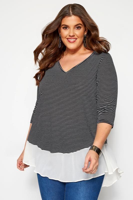 KOKO Navy & White Stripe Double Layer Top