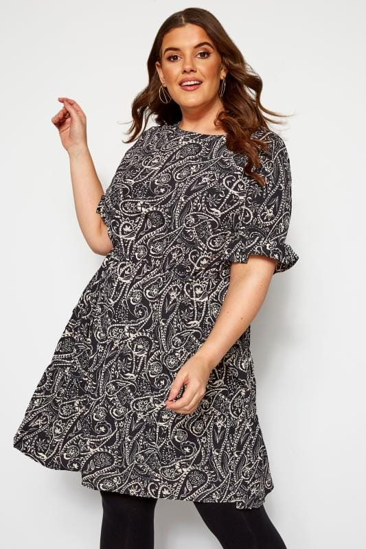 Plus Size Skater Dresses KOKO Black Paisley Print Skater Dress