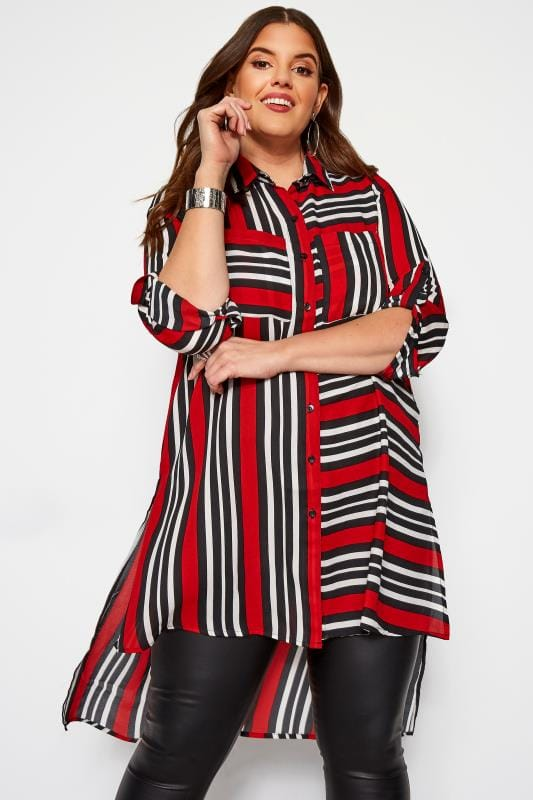 Plus Size Chiffon Blouses KOKO Red & Black Striped Chiffon Shirt