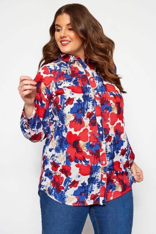 Große Größen Shirts KOKO Blumen-Hemd mit langen Ärmeln - Blau/Rot