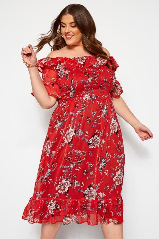 Vestidos casuales Tallas Grandes KOKO Vestido rojo midi de flores